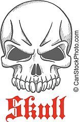 Angry gothic skull without jawbone - Vintage angry gothic...