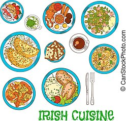 Irish national cuisine dishes set - Irish cuisine dishes...