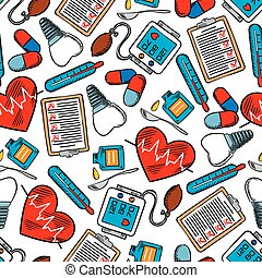 Seamless pattern of medical icons