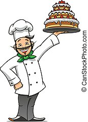 Cartoon french chef with chocolate cake - Cartoon french...