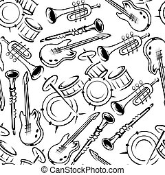Musical instruments retro seamless pattern