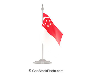Flag of singapore with flagpole 3d render - Flag of...