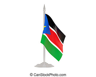 Flag of south sudan with flagpole 3d render - Flag of south...
