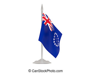 Flag of cook islands with flagpole 3d render - Flag of cook...