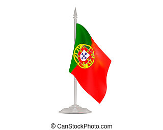 Flag of portugal with flagpole. 3d render