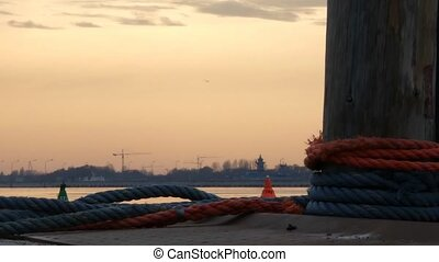 Harbor view mooring pole sunset