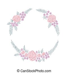 Floral ring frame - Floral frame with peonies on white...