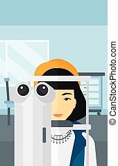 Patient visiting ophthalmologist. - An asian woman during...