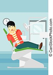 Frightened patient in dental chair - An asian frightened man...