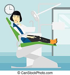 Woman suffering in dental chair - An asian woman sitting in...