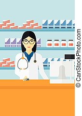 Pharmacist at counter with cash box. - An asian woman at the...