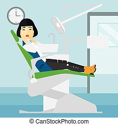 Frightened patient in dental chair - An asian frightened...