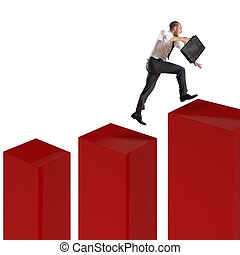 Speed financial climbing - Businessman runs and jumps on a...