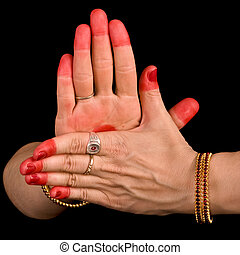 Chakra hasta of indian dance Bharata Natyam - Woman hand...