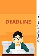 Woman having problem with deadline - An asian scared woman...