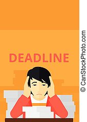 Man having problem with deadline - An asian man sitting at...