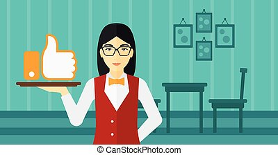 Waitress with like button - An asian waitress carrying a...