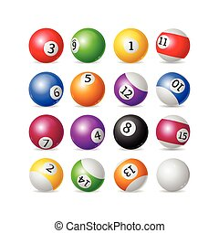 Colorful Billiard Balls Set. Vector - Colorful Billiard...