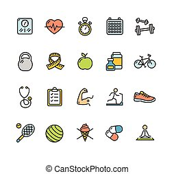 Health Fitness Icon Color Set. Vector