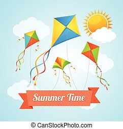 Summer Card. Vector - Summer Card with a Flying Kites....