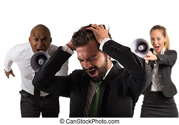 Submit an employee - Boss scolds with megaphone a desperate...