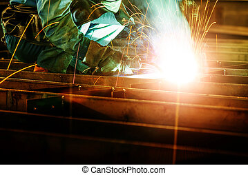 welding with mig-mag method - Workers at work, ongoing...
