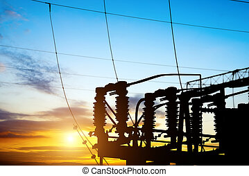 Sunset time substation - Substation equipment and lines and...