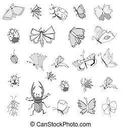 Collection of hand drawing insects, Cute set of decoration...