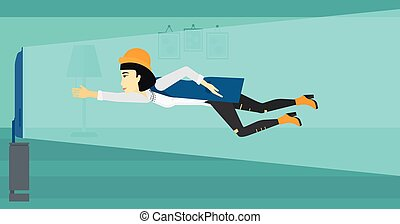 Woman suffering from TV addiction - An asian woman flying in...