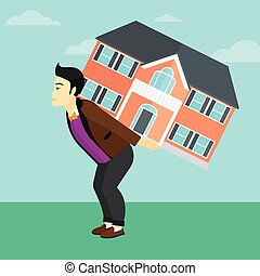 Man carrying house. - An asian man carrying a big house on...