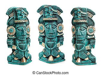 Mayan deity statue from Mexico isolated - Mayan god statue...
