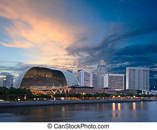 Esplanade Singapore opera and concert hall at dusk -...