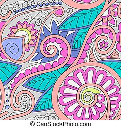 Tribal ethnic background Hand-drawn vector doodles, seamless...