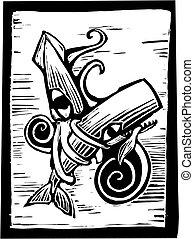 ballena, calamar