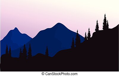 Mountain and spruce of silhouette