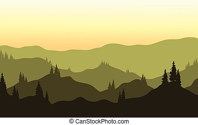 View of hills silhouette