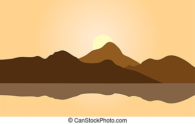 View of brown mountain silhouette