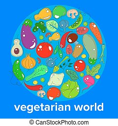 the concept of the day vegetarian - a range of vegetables and fruits on the background of the world globe