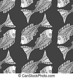 Tangle Patterns fish background - Seamless Tangle Patterns...