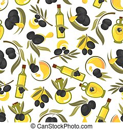 Healthful olive oil seamless pattern - Seamless healthful...