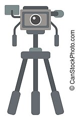 Photo camera on tripod vector flat design illustration...