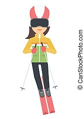 Young woman skiing - Young woman skiing vector flat design...