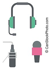 Headphones, classic microphone and studio microphone vector...