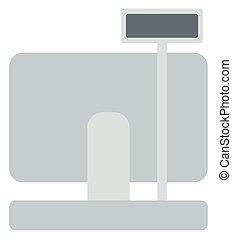 Electronic cash register vector flat design illustration...