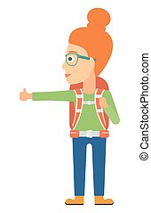 Young woman hitchhiking - A traveler hitchhiking trying to...