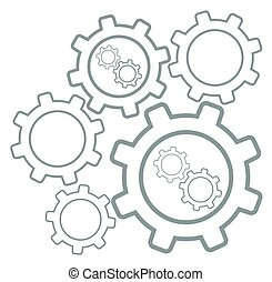 Group of cog wheels vector flat design illustration isolated...