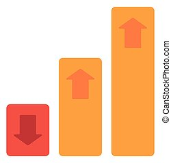 Bar chart with up and down arrows