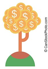 Money tree with golden coins vector flat design illustration...