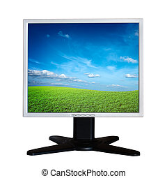 Computer LCD monitor isolated on white