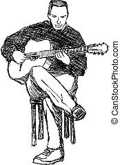 Guitarist vector - Rough sketch of young acoustic guitar...